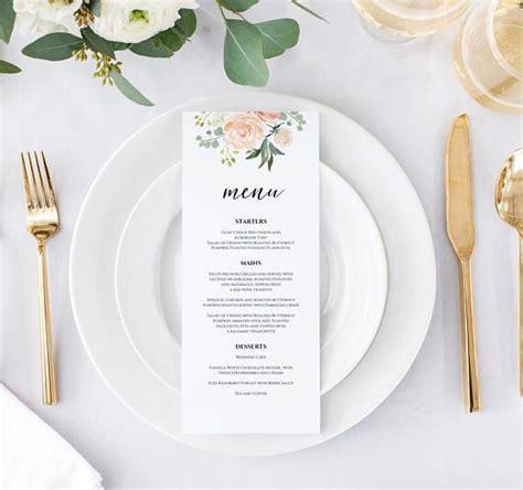 peach floral menu card template menu card printable