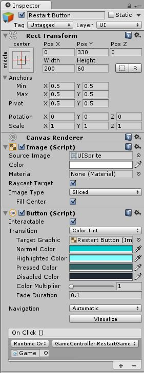 unity tutorial restart unity restarting the game