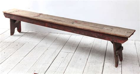 farm style bench rustic wood farm style bench with red patina at 1stdibs