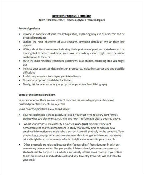 proposal format for research project project proposal template 8 exles in word pdf