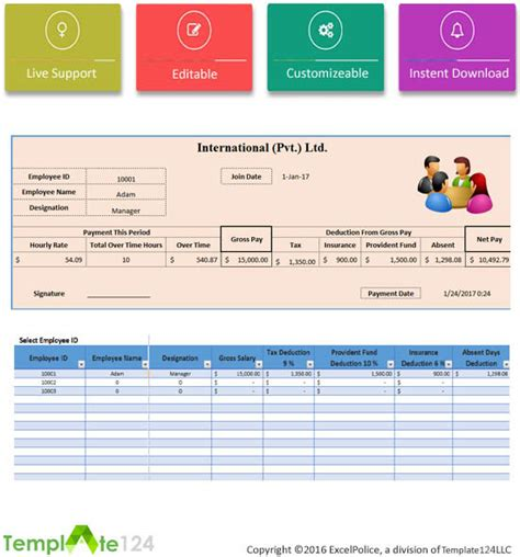 excel employee payroll template printable employee payroll template excel 2017 template124