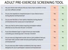 Pre Exercise Screening Form Template by Pre Workout Questionnaire Eoua