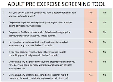 pre exercise screening form template pre workout questionnaire eoua