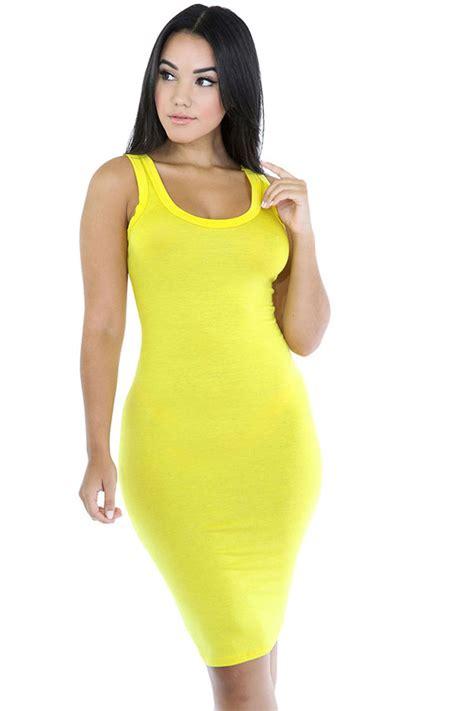 Top Gauze Dress Import 27 Pink Import womens plain bodycon midi tank dress yellow pink