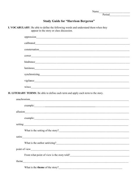 themes in fahrenheit 451 worksheet answers study guide harrison bergeron worksheet lesson planet