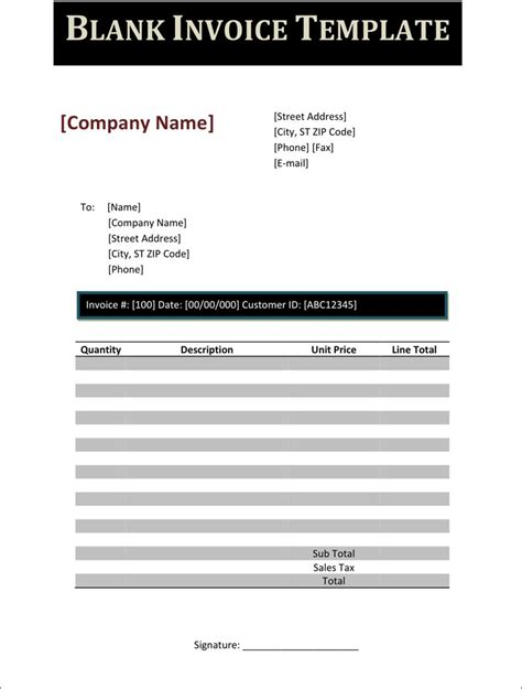 blank business invoice template blank invoice template free premium templates