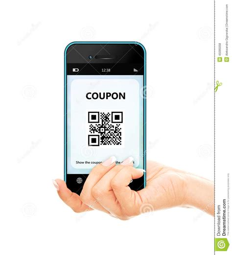 Coupons On Your Mobile Phone by Holding Mobile Phone With Discount Coupon Isolated