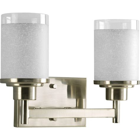 vanity lighting bathroom lighting the home depot bathroom cabinets with lights progress lighting collection 2 light brushed nickel vanity fixture p2977 09 the home depot