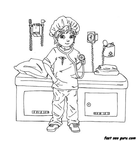 coloring pages girl doctor printable girl playing as a doctor coloring pages