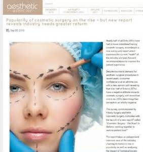 Report Had Recent Surgery by Pr Excited To Launch New Report Cosmetic Surgery