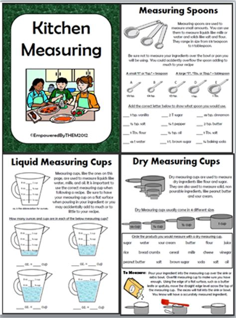 Kitchen Math Measuring Worksheet by Empowered By Them Kitchen Measuring