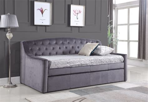 DAYDREAM GREY VELVET DAYBED WITH TRUNDLE   Bedz Online