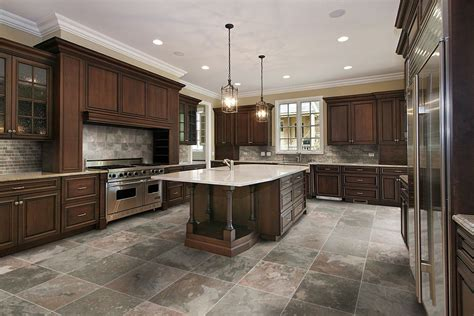 what color flooring go with dark kitchen cabinets kitchen floor tile ideas with oak cabinets blue design