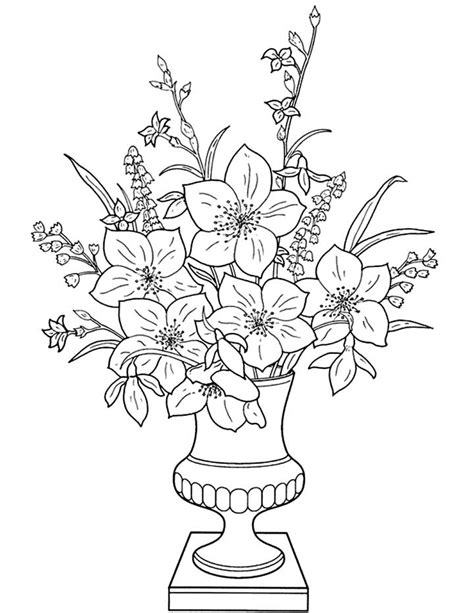 printable flowers in a vase flowers in a vase coloring page for kids free
