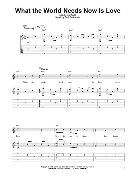 What The World Needs Now by What The World Needs Now Is Guitar Tab By Jackie