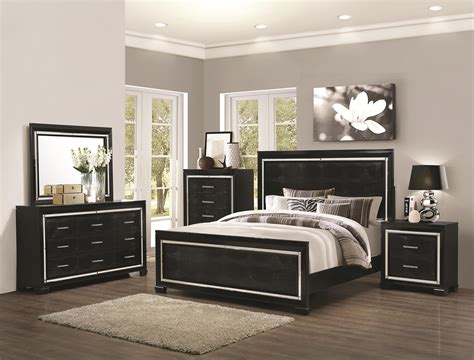 Coaster Furniture Bedroom Sets by Coaster Furniture 4 Pc Zimmer Black Crocodile Pattern