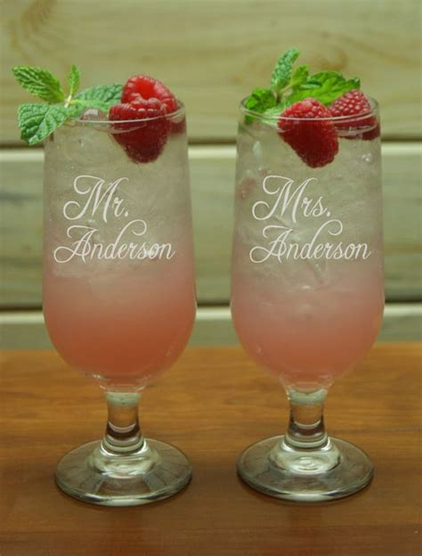 mr mrs cocktail glasses personalized glass custom