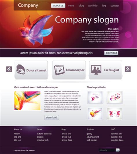 free homepage for website design black style website templates design vector 04 vector