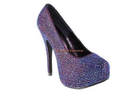 purple shoes high heels bordello purple satin iridescent rhinestone platform pumps
