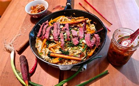 Macfacjkt Sweet Spicy Beef sweet and spicy beef stir fry with kimchi cuisine