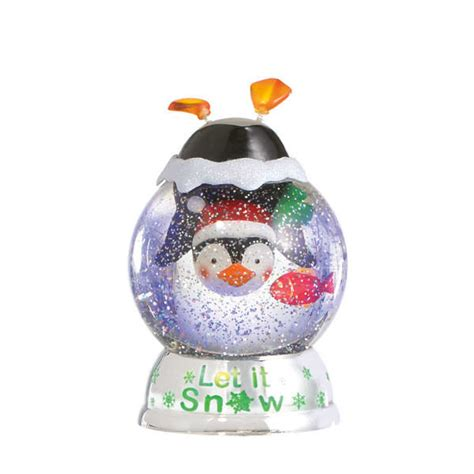 snow country penguin modern christmas penguin let it snow globe dome acrylic lighted figurine