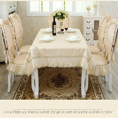 beige jacquard embroidered lace table cloth rectangular