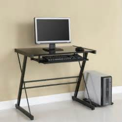 glass computer desk solo small glass top computer desk in black d31s29b