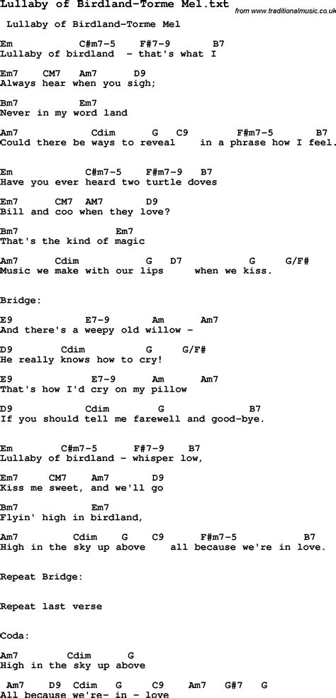 testo lullaby jazz song lullaby of birdland torme mel with chords