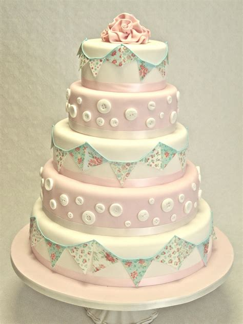 Edible Cake Decorations For Baby Shower 5 Tier Bunting And Buttons Wedding Cakes Cakeology
