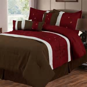 Sarah 7 piece comforter set in brown amp red