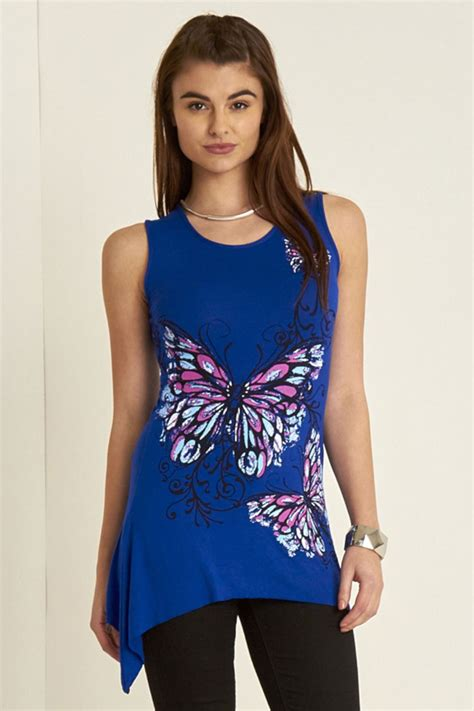 Print Casual Top 24264 womens butterfly print sleeveless waterfall casual vest top t shirt 8 26 ebay