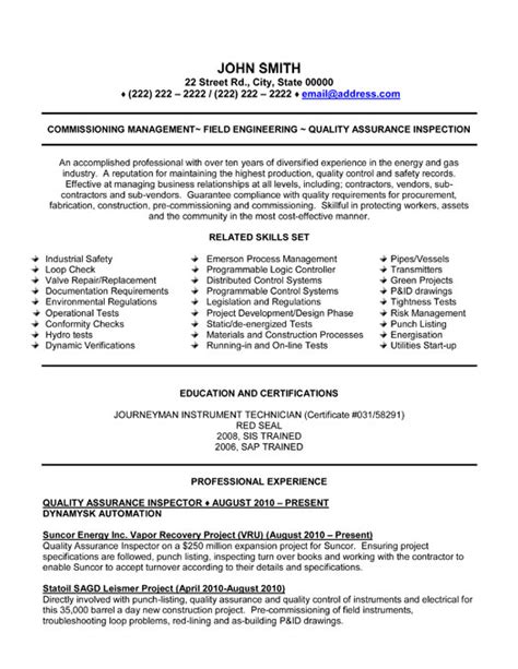 Sample Resume Oil And Gas Industry by Quality Assurance Inspector Resume Sample Amp Template