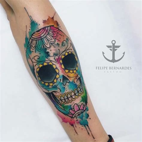 watercolor sugar skull tattoo best 25 mexican skull tattoos ideas on