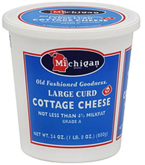michigan cottage cheese large curd 24 0 oz nutrition