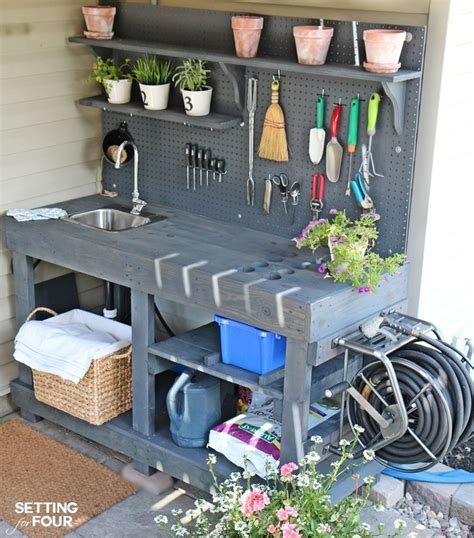 diy potting bench with sink make it diy potting bench with sink hose reel le veon
