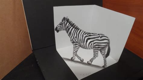 How To Make A 3d Drawing On Paper - drawing 3d zebra trick on paper by vamosart on deviantart