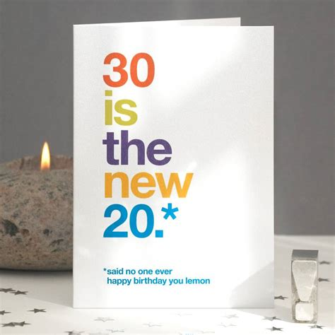 Thirty Birthday Cards 30 Is The New 20 Funny 30th Birthday Card By Wordplay