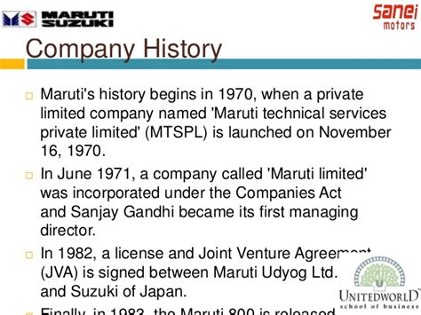 Maruti Suzuki Company History Promotions Events And Survey On Individual Perception On