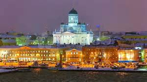 Cardboard Chairs Winter Night Scenery Of Helsinki Finland Stock Video