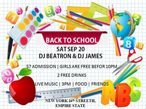 16 Impressive Back To School Flyers In Psd Word Ppt Templates Demplates Free School Flyer Templates