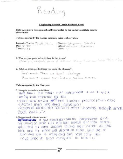 Lesson Plan Feedback Template lesson plan feedback form terrell s imb portfolio