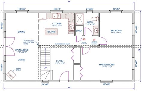 open loft house plans 1056 sqft 24 x44 a