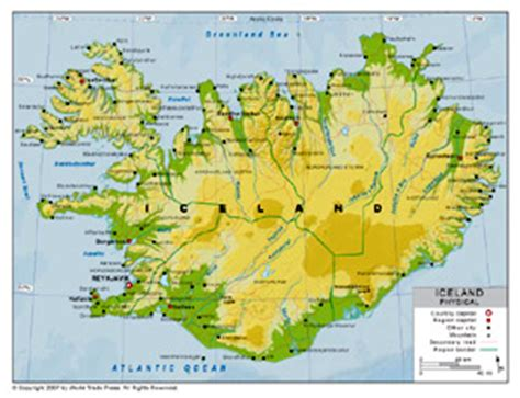 5 themes of geography iceland physical map of iceland by bestcountryreports com