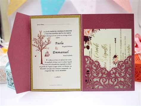 1pcs Sample Elegant Floral Tri fold Laser Cutting