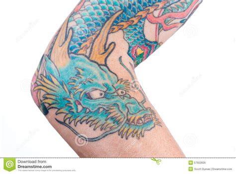 blue dragon tattoo blue on arm stock image image of blue