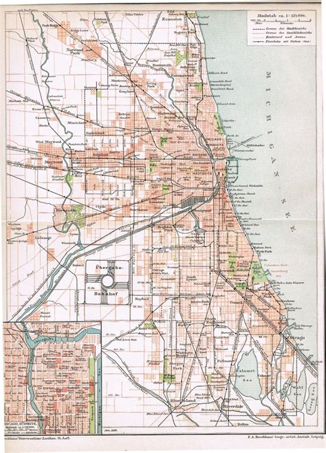 chicago map 1900 chicago map from 1900 from curioshop on ruby
