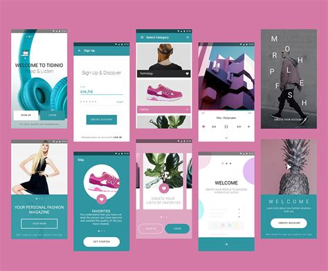 design clothes app fashion magazine mobile app ui kit free psd download