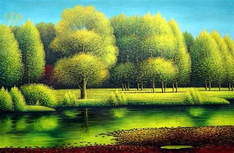 Print Hanging Frame by Nature Of Beauty Landscape Oil Painting River Naturalism 24 X 36 Inches With Frame