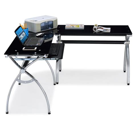 Rta Products Techni Mobili L Shaped Computer Desk Rta Products Techni Mobili Corner L Shaped Black Glass Computer Desk With Chrome Frame