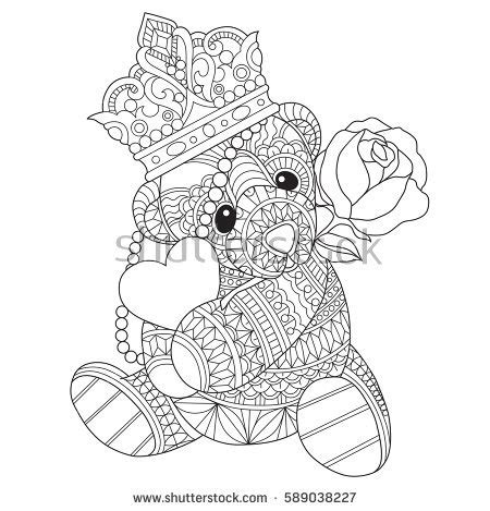 teddy bear coloring pages for adults kaewta s portfolio on shutterstock